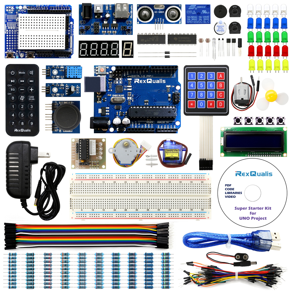 UNO Project Super Starter Kit for Arduino w/ UNO R3 Development Board,  Detailed Tutorial - Rexqualis Arduino Raspberry Pi Electronic Components
